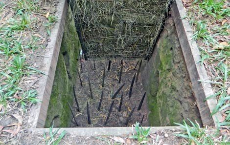 A booby trap with bamboo spikes